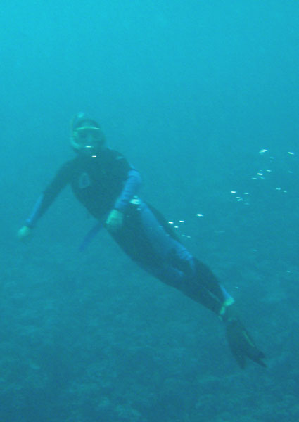 Marge snorkeling the reef in Tonga