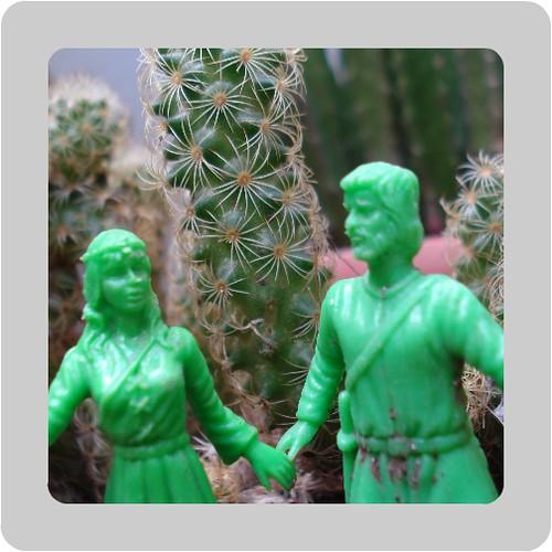 pareja de mosqueteros entre cactus