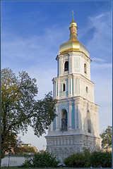 The Bell Tower Of Saint Sophia Of Kyiv Cathedral / ,   (OleksiyM) Tags: city trip travel light vacation sky history church architecture evening arquitectura nikon europe day cathedral religion catedral ukraine unesco cathdrale baroque orthodox kyiv eglise ua worldheritage urbanlandscape urbain  d300  historicalsites        egliseorthodoxe oekrane  ukrainie