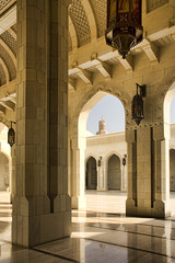 The Grand Mosque, Oman (sminky_pinky100 (In and Out)) Tags: blue architecture worship shadows prayer religion pray uae large sunny grand arches lanterns ornate oman impressive grandmosque 5photosaday bej omot citrit eyejewel