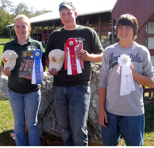 Intermediate goat skillathon winners (L-R) Tara Burner, Jared Hoffman and Ryan Hevner