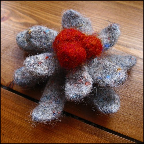 handknit felted brooch in grey and rust