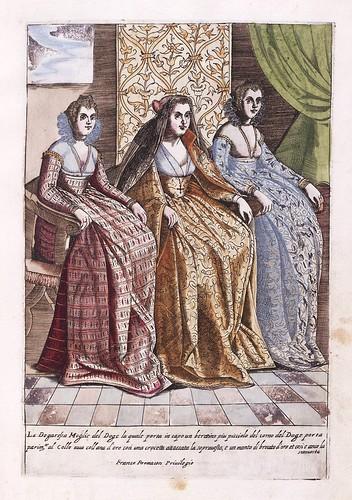 012-Esposa del Dogo de Venecia y sus acompañantes-Habiti d'hvomeni et donne venetiane 1609
