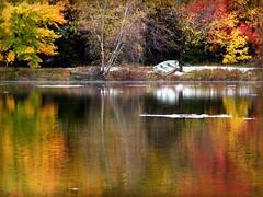 The Boat (socalgal_64) Tags: autumn mist lake snow mountains fall water colors misty reflections boat woods colorful seasons pennsylvania seasonal pa poconos snowfall topshots