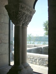 Looking Out at the Hudson River (IslesPunkFan) Tags: nyc trees sky ny newyork building window water stone museum river terrace manhattan medieval limestone hudsonriver met metropolitanmuseum metropolitanmuseumofart forttryonpark thecloisters coulmns