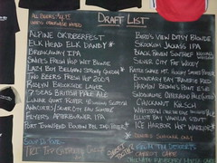 Naked City Taphouse Beer List for their one year anniversary party.