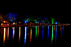 Rainbow River... (Chris H#) Tags: longexposure blue trees red orange green yellow reflections river bedford nighttime afterdark s3000 rainbowriver rivergreatouse 6seconds sooc cmwdgreen nikond5000
