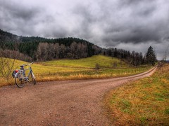 The Long Road Home (Peter Nyhln) Tags: autumn clouds forest landscape olympus hdr hst landskap countryroads photomatix grusvg e520 olympuse520 100commentgroup kinnahult harpebo gudss peternyhln