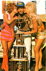 Linda Vaughn on right with winner and trophy (torinodave72) Tags: girl golden linda nascar firebird miss vaughn pure shifter hurst nhra usac