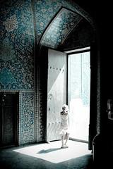 (Hossein Ghodsi) Tags: world door blue light black girl lines architecture hope persian child darkness iran mosque iranian  esfahan  isfahan     sheikhlotfollah sheikhlotfollahmosque  persianarchitecture   spiritualworld ceramicwall