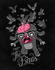 the birds (akrapf) Tags: black bird illustration movie zombie attack tshirt brain hitchcock denada akrapf