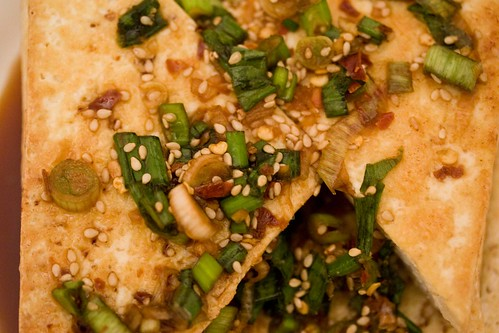tofu with spicy sesame and scallion sauce