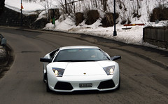 Lamborghini Murcilago LP640 in the snow (Martijn Kapper) Tags: winter snow car alpes switzerland geneva sony exotic alpha lamborghini supercar a100 murcilago gstaad carspotting lp640 autogespot