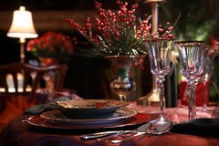 Christmas Dinner (Ronaldo F Cabuhat) Tags: travel family light vacation inspiration art love lamp colors beautiful beauty night dinner canon table happy photography hope glasses photo lowlight crystal bokeh creative picture happiness spoon holly sharp clear photograph serenity plates wineglass lovely tablecloth cutlery christmasdinner flowervase canonefs1755mmf28isusm canoneos50d tablesetup cabuhat