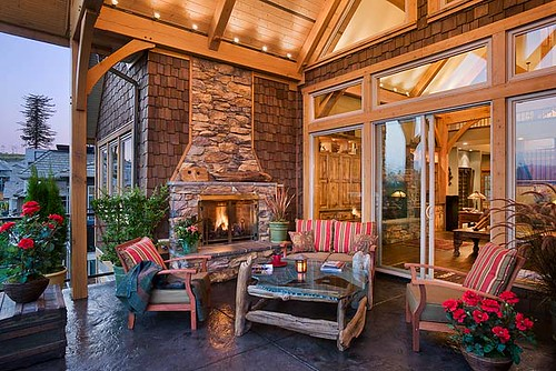 mountain view timber frame home open air patio