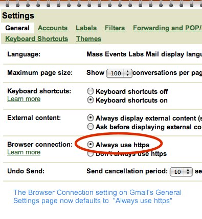Gmail Defaults To HTTPS