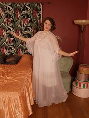 Ilise Stevens Ultra Sheer Double Nylon White Peignoir Robe Full Length Front (mondas66) Tags: ruffles robe lace embroidery lingerie boudoir lacy embroidered nylon frilly robes peignoir ruffle nightwear frills frill ruffled flouncy flounce lacework frilled trousseau antron flounces frilling frillings peignoirs ilsestevens befrilled