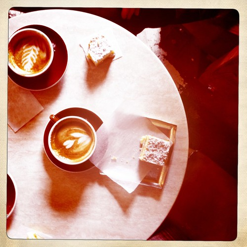 Coffee and lemon bars at Anjou Bakery in Cashmere