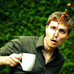 The Coffee, The Cup, Me and My Funny Face (rasenkantenstein) Tags: boy portrait selfportrait man eye art cup coffee strange face shirt self hair nose eyes funny magdeburg stupid worry splash awkward spill fellow spilled whyamidoingthis rasenkantenstein thepowerofnow tonysstupidideas funnyfacefriday