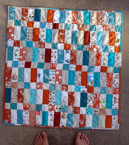 aqua and orange baby quilt