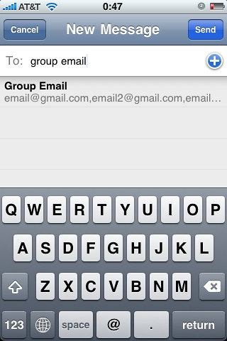 Screenshots for article on using email groups in iPhone Mail