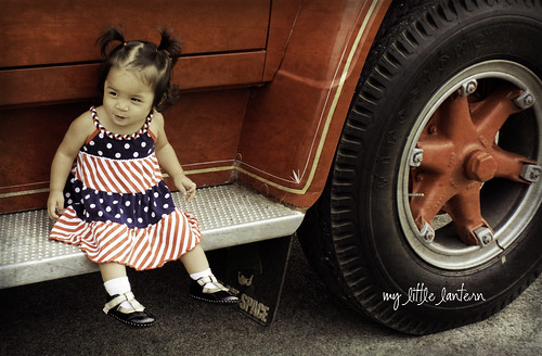 sitting on a firetruck