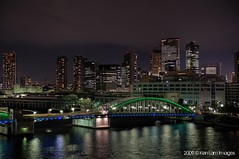 Kachidoki () Bridge at night..... (Ken.Lam) Tags: bridge japan night clouds buildings reflections river lights tokyo nightscape illuminations scene   sumida tsukishima kachidoki hdr  offices annex shiodome dentsu ohashi        platinumphoto