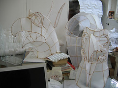 bird masks in the studio (polyscene) Tags: sculpture art paperart polly poly verity papersculpture polyscene pollyverity papersculptures