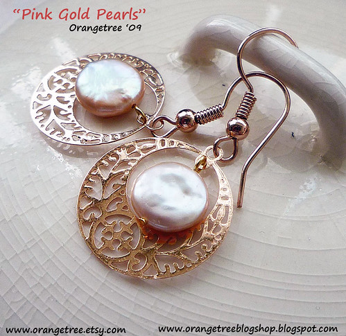 pink gold pearls earrings
