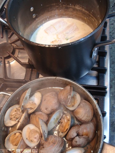 Making Corn & Clam Chowder
