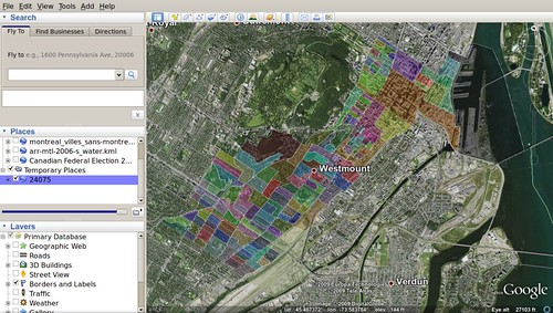 Federal Electoral Polls on Google Earth / Westmount--Ville-Marie