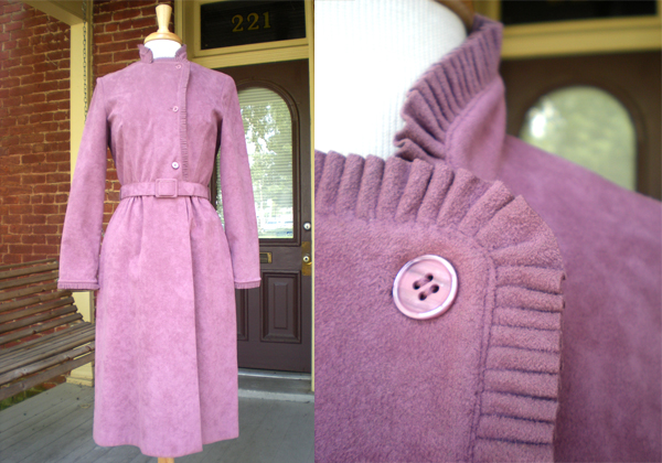 Ebay 70's Suede Coat Dress w/ Pleated Trim