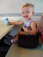 Q likes his booster seat!