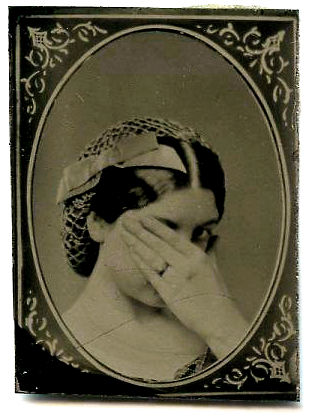 Tin Type_Woman looking with hand shielding_310x416