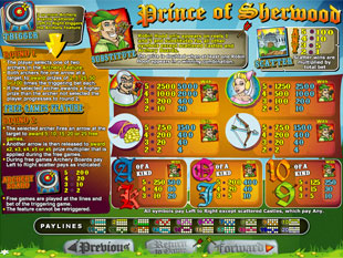 free Prince of Sherwood slot mini symbol