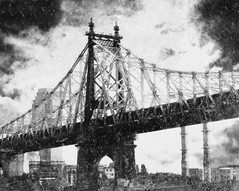 Stormy Weather (Visualtricks) Tags: bridge bw newyork clouds textures rooseveltisland queensboroughbridge memoriesbook