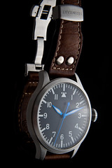 Ticino Big Pilot (GuySie) Tags: brown black leather ticino big hands steel watch dial double strap crown onion homage pilot stainless rivet iwc blued buhr steihart