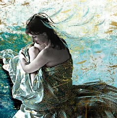 motionless Trip - Voyages Immobiles (vinciane.c) Tags: trip blue water grass photomanipulation photoshop women waves dreams illustrator cintiq plucks insaneworld