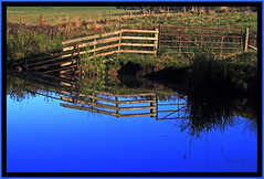 Its Just A Fence (Picture post.) Tags: blue autumn green nature water fence reflections landscape eau searchthebest bluesky 1001nights paysage soe otw autumnmorning mywinners abigfave platinumphoto goldstaraward spiritofphotography vosplusbellesphotos
