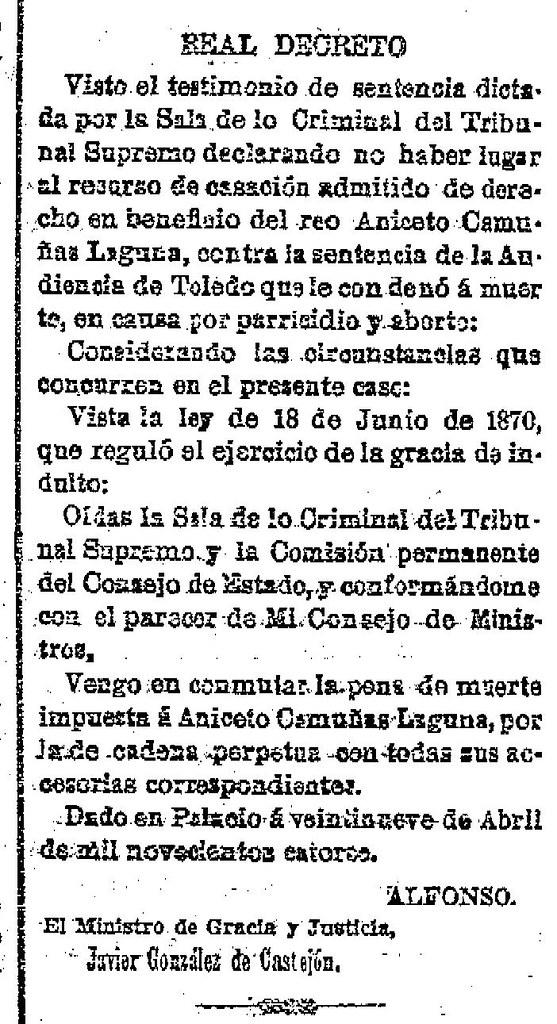 Gaceta de Madrid. 30 de abril de 1914. Real decreto conmutación pena