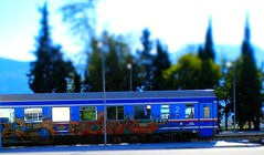 Kalabaka, Greece - October 2009 (kexarcho) Tags: streetart train hellas graffity urbanart greece grecia effect grece ellada tiltshift kalabaka  shifttilt          tiltshiftmaker