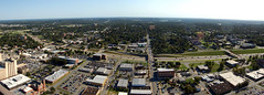 Bird's Eye View (NBJones) Tags: bridge tower skyline skyscraper downtown cityscape littlerock pano horizon overpass panoramic freeway photomerge arkansas interstate pulaskicounty metropolitannationalbanktower tcbytower metropolitannationalbank mounthollycemetery i630