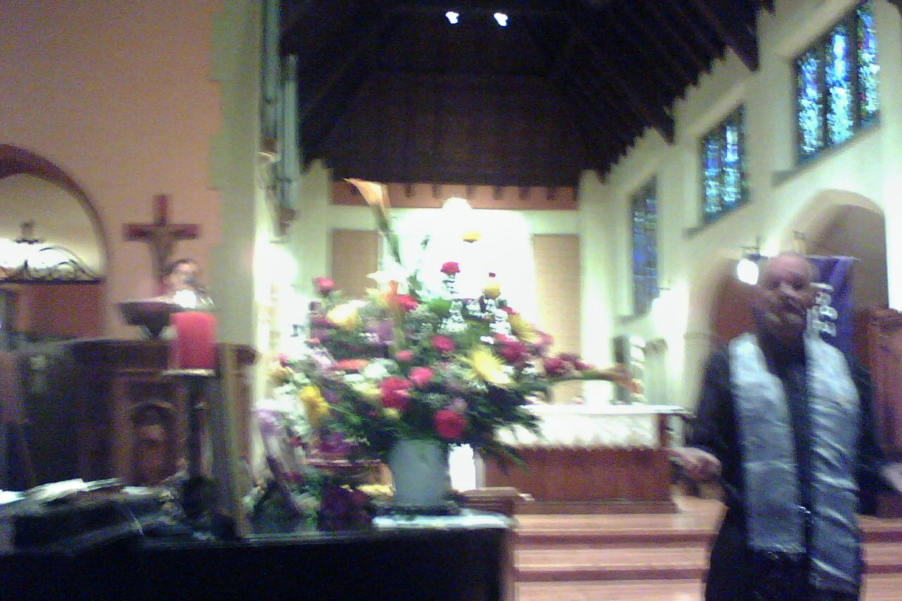 flower bouquet & inside st George's at dignity mass