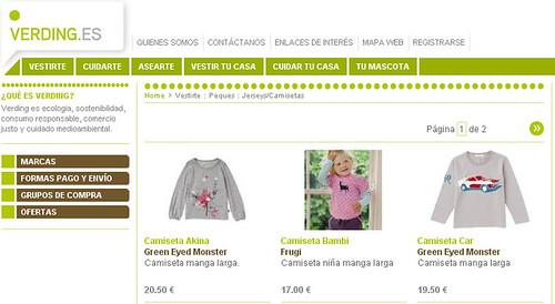 Productos infantiles ecológicos en Verding.es