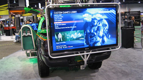 a 66 inch plasma screen on the back lets spectators watch from outside the truck.