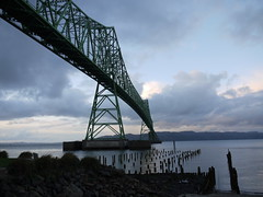 Astoria Bridge (J.P. EVERETT) Tags: bridge light cloud nature rock metal oregon river outside outdoors afternoon outdoor steel or columbia structure 101 pile astoria piling piles megler truss astoriamegler