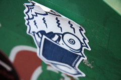 that moonshine made me hoppin-mad (damonabnormal) Tags: nov street city november urban streetart art philadelphia canon graffiti sticker stickerart 33 label stickers streetphotography urbanart pa 09 labels slap phl 2009 215 urbanphotography slaps uwp underwaterpirates philadelphiastreetart 40d philadelphiagraffiti philadelphiaartist