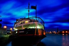 Watching the sky go past (Tony Shertila) Tags: longexposure england sky color water weather ferry night docks boat europe cloudy dusk birkenhead snowdrop wallasey wirral merseyferry nightcolour eastfloat ferrycrossthemersey