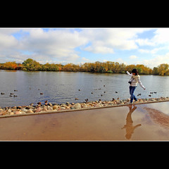 Keep balancing (JannaPham) Tags: park autumn red orange abstract reflection green water colors girl yellow canon garden eos golden russia moscow 5d balance kolomenskoye markii    project365  121365  jannapham