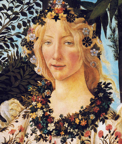 Botticelli: Primavera, detail head of Flora by petrus.agricola.